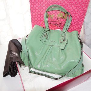 COACH 15516 Ashley GREEN Patent Leather Handbag